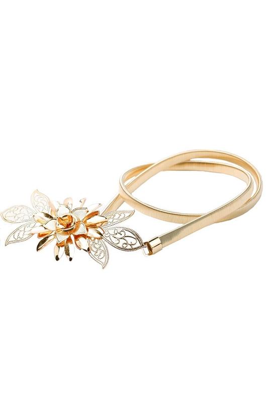 5X-Damen-Gold-Metallkette-Blume-Guertel-Gummiband-Hueftgurt-Band-G5U4