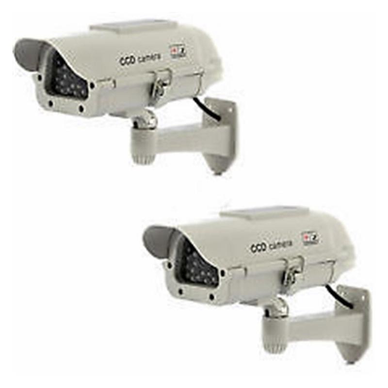 2-pcs-en-plein-air-Dummy-Camera-d-039-energie-solaire-LED-blanche-sans-fil-IR-D-H3N5 miniature 2