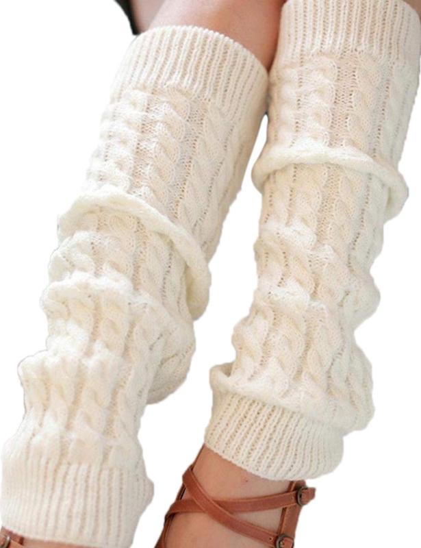 Mode-Feminine-Hiver-Tricot-Crochet-Guetres-Chaussette-Noir-E7U7 miniature 5