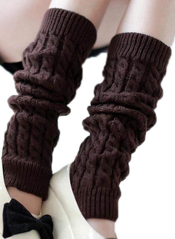 Mode-Feminine-Hiver-Tricot-Crochet-Guetres-Chaussette-Noir-E7U7 miniature 7
