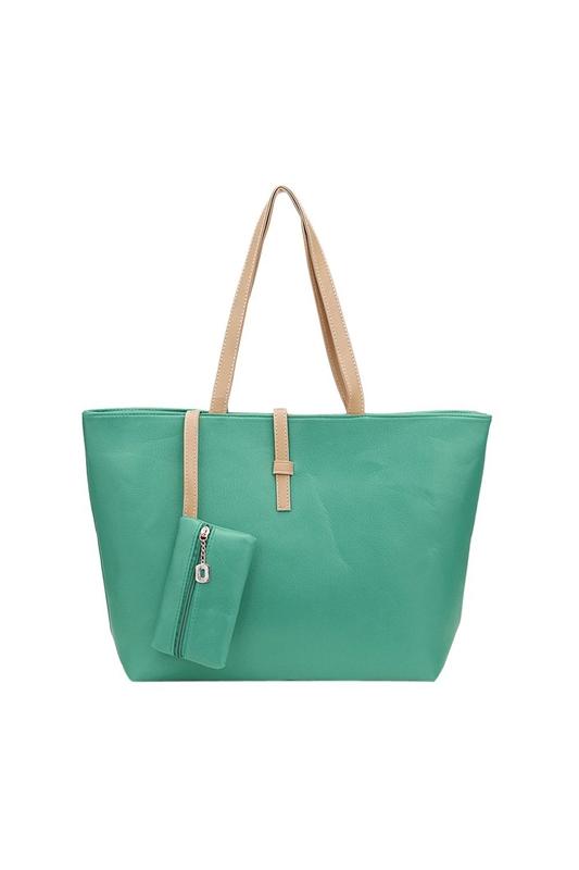 Grande-verde-del-bolso-de-hombro-PU-Bolsa-piel-con-el-pequeno-Monedero-la-MuC7W4