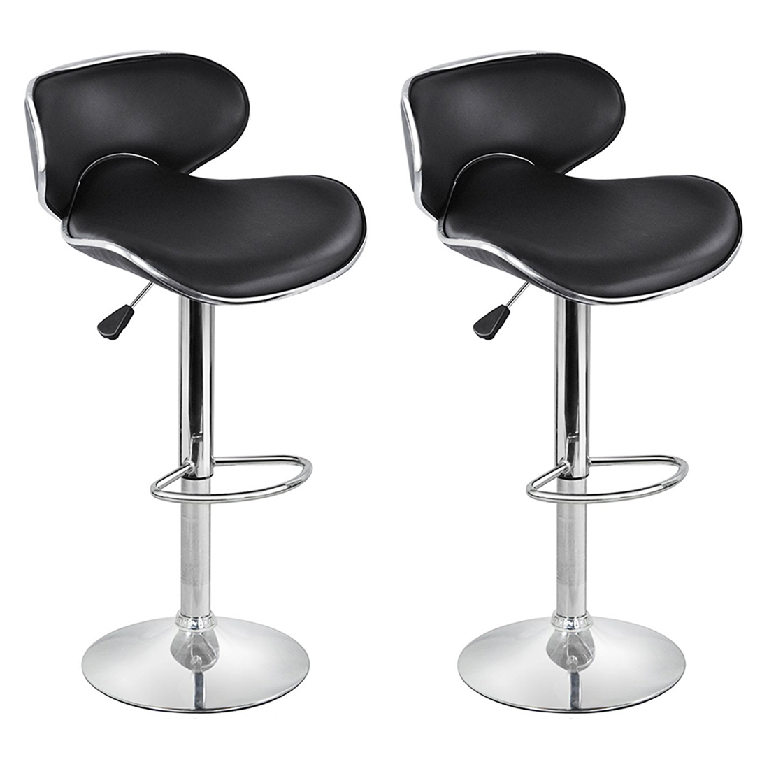 2 faux leather kitchen breakfast bar stool barstools for Kitchen swivel bar stools