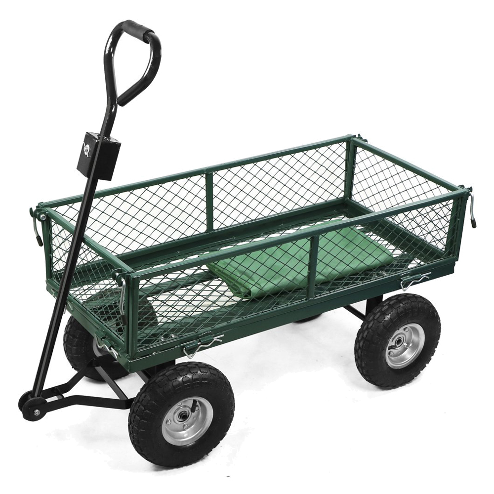 Metal Utility Cart: Small-scale 200kg Metal Garden Outdoor Utility Hand Cart W