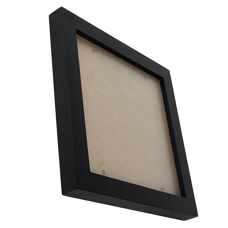 Square Thick Pine Wood Photo Frame Wall Picture Frame (Black