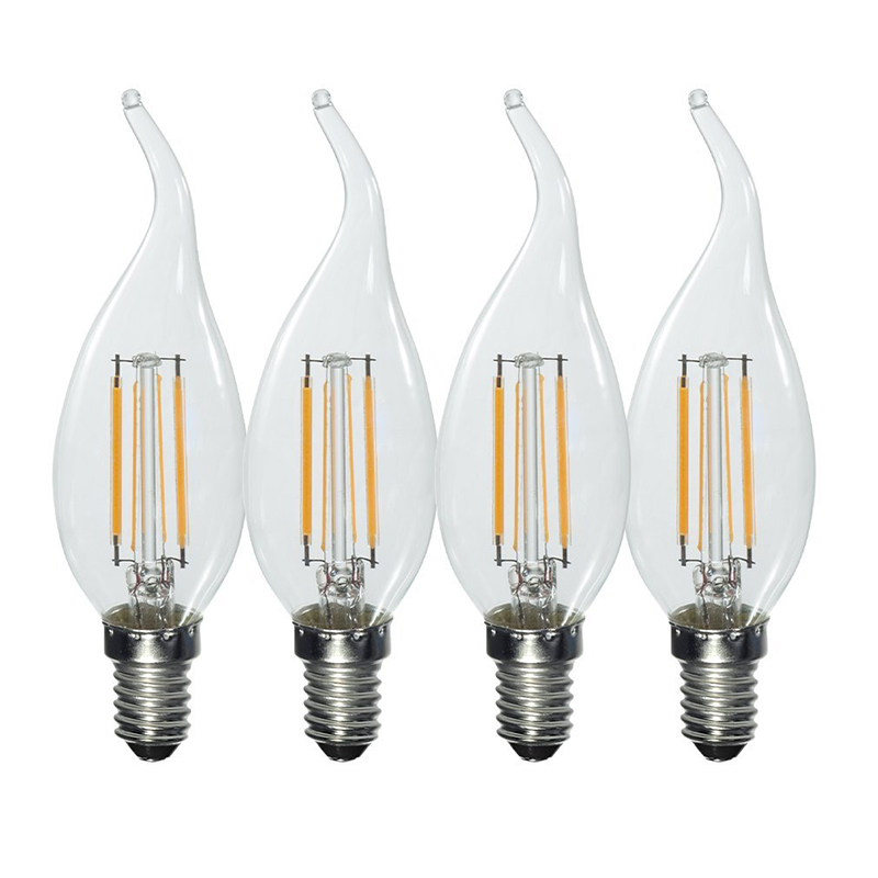 4 pcs Retro Style 4W, E14, Warm White, 3000K, 380LM Curved Clear Glass LED V5X7