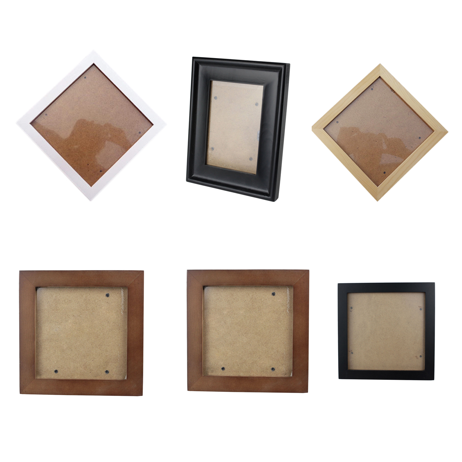 Details about Square Thick Pine Wood Photo Frame Wall Picture Frame  (Black,6 Inch) G9N3