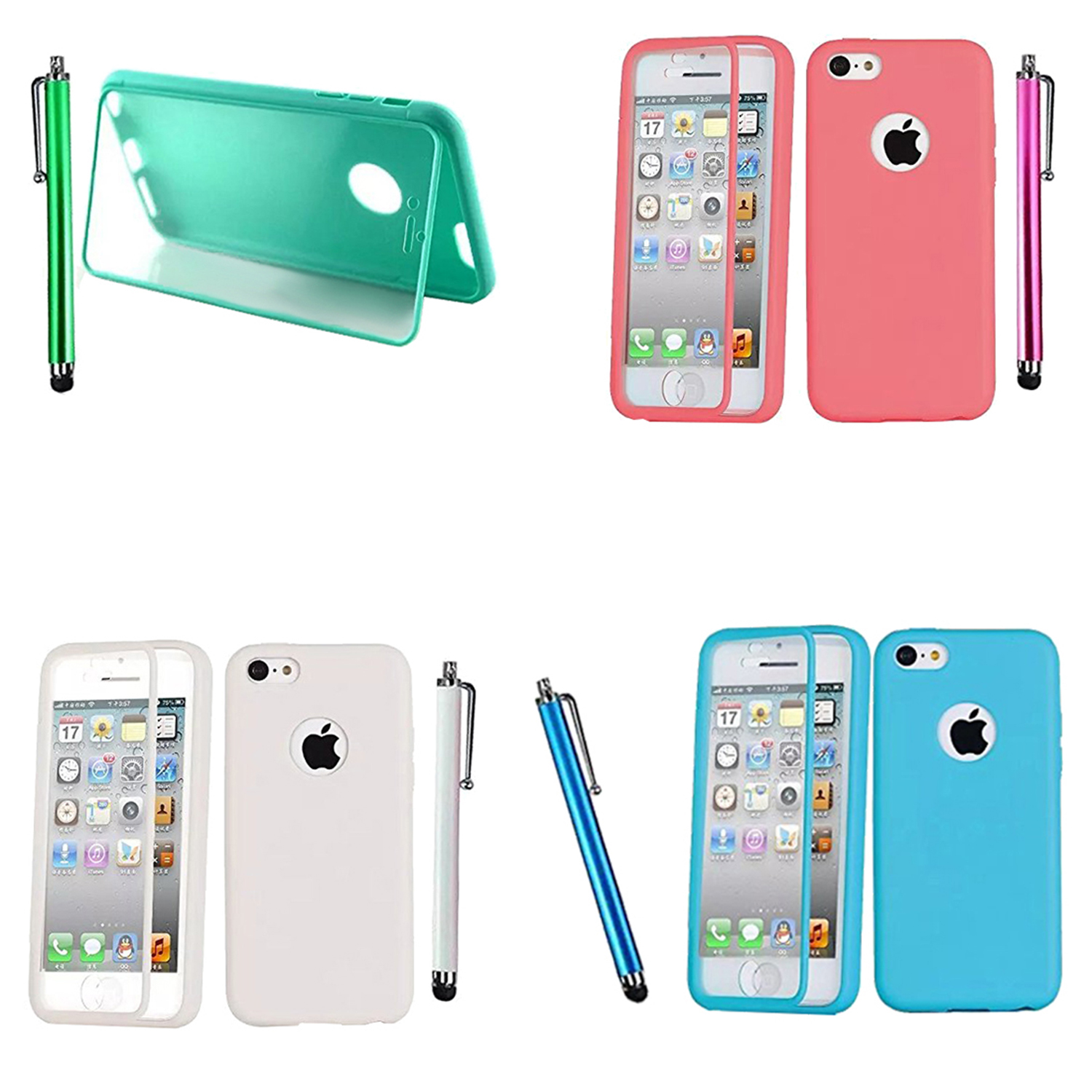 new concept a4605 9297e Details about Clamshell type TPU cell phone case for iPhone 5SE 5S Green +  Stylus Pen L L4Y7)