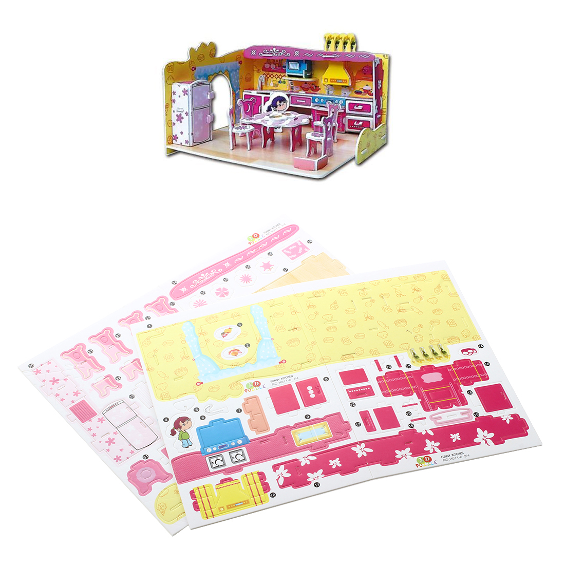 F6D7 Educational 3D Model Puzzle Jigsaw Mini Kitchen DIY Toy 81 Pcs F6