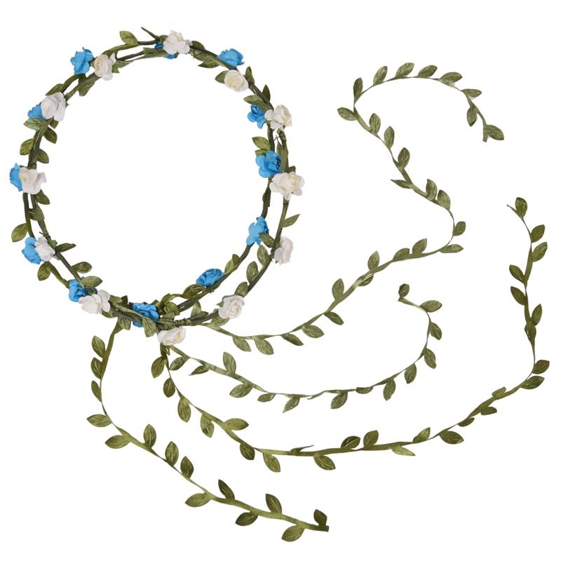 2 Stk Blumen Stirnband Elfenbein + Gruen, Blau + Gruen Neu Rose Niederlassu W6t3 Neue Sorten Werden Nacheinander Vorgestellt