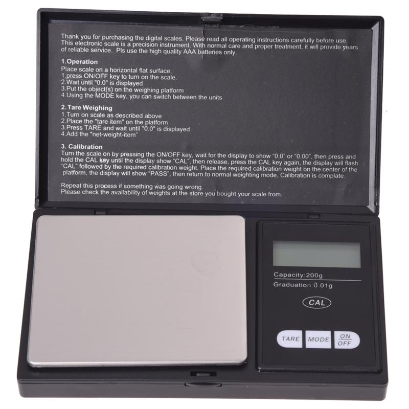 20X(LCD balanza caBesterillo de precision 0.01g  200g noir  D2H3)