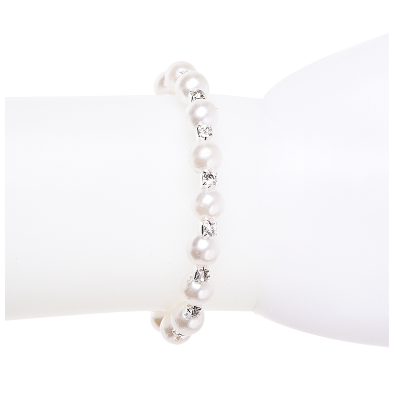 Fashion-Wedding-Bridal-Pearl-Rhinestone-Single-Row-Bracelet-Stretch-Y9P1