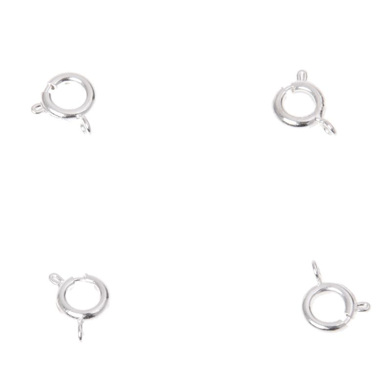 5X-50-Silver-Plated-Spring-Ring-Clasp-Jewelry-Findings-7mm-HOT-V7W9