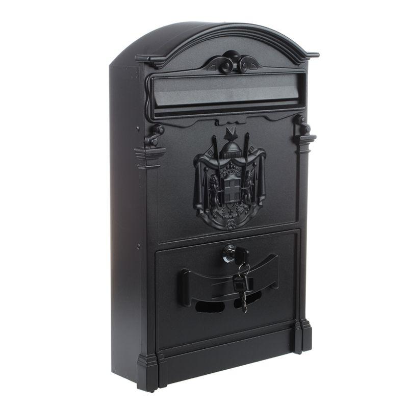 4X(Heavy Duty noir in alluminio con serratura Secure Mail Letter Post Box L N1R1