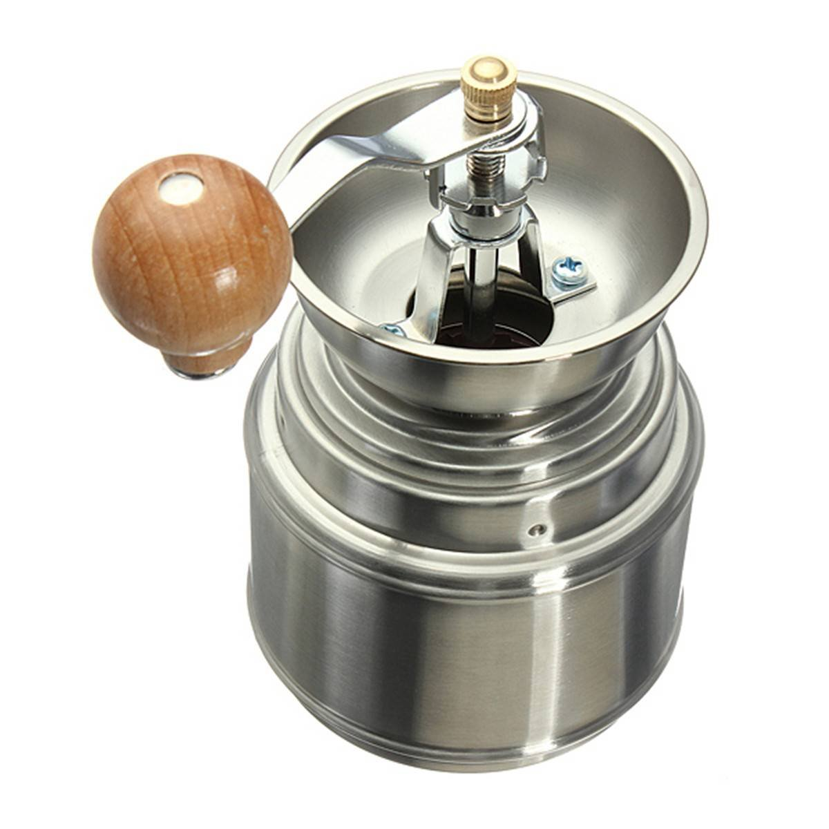 Roellinger manual pepper mill with handle in wood chocolate.
