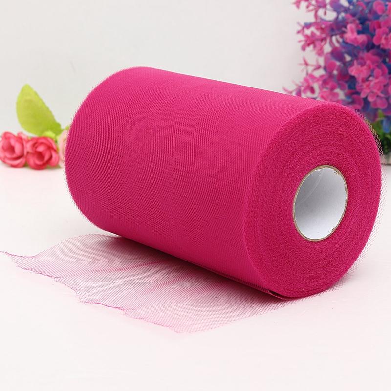 Soft-6-034-x100yd-Tulle-Roll-Spool-Wedding-Decor-6-034-x300-039-deep-rose-red-I7G1