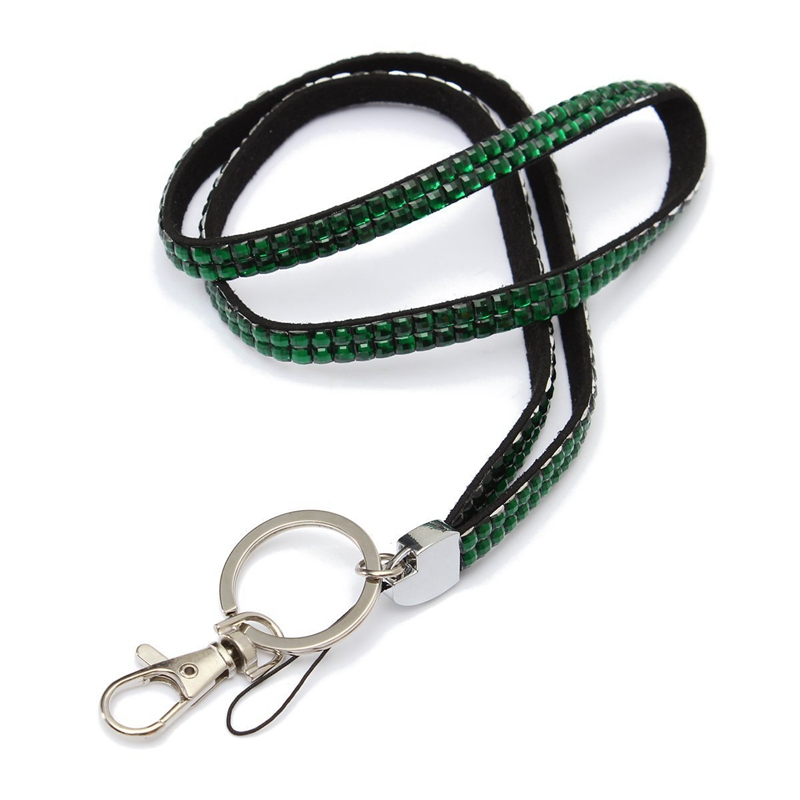 Green-Strap-Lanyard-Bling-Rhinestone-Crystal-Custom-for-ID-Badge-Key-Ring-H-H9K7 thumbnail 3