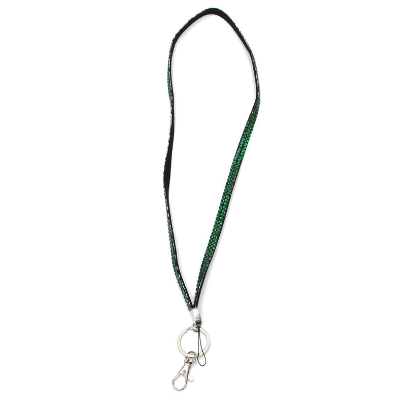 Green-Strap-Lanyard-Bling-Rhinestone-Crystal-Custom-for-ID-Badge-Key-Ring-H-H9K7 thumbnail 6