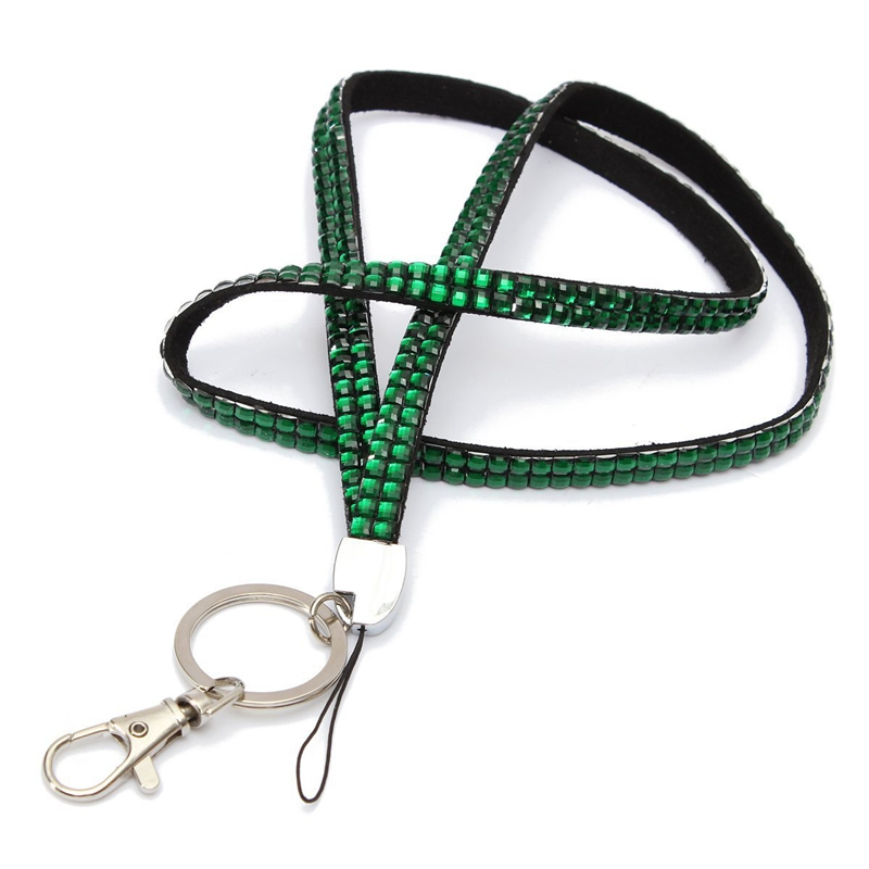 Green-Strap-Lanyard-Bling-Rhinestone-Crystal-Custom-for-ID-Badge-Key-Ring-H-H9K7