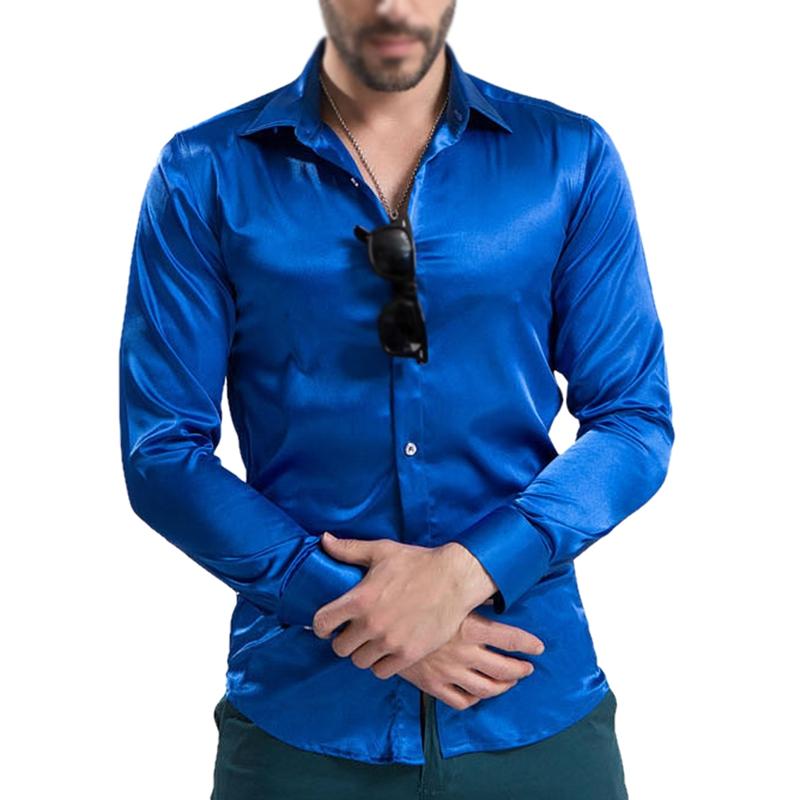 La imagen se está cargando Ropa-de-hombre-ocio-Camisas-manga-larga-seda- fe694272545