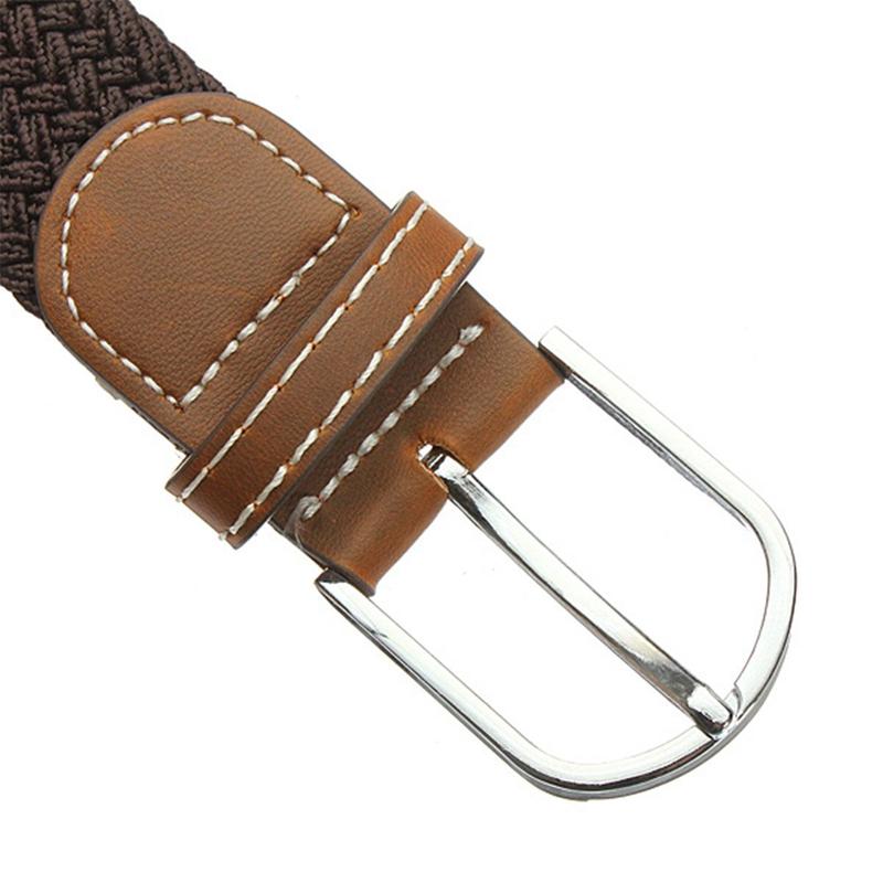 ceinture avec boucle en cuir tresse elastique unisexe pour. Black Bedroom Furniture Sets. Home Design Ideas