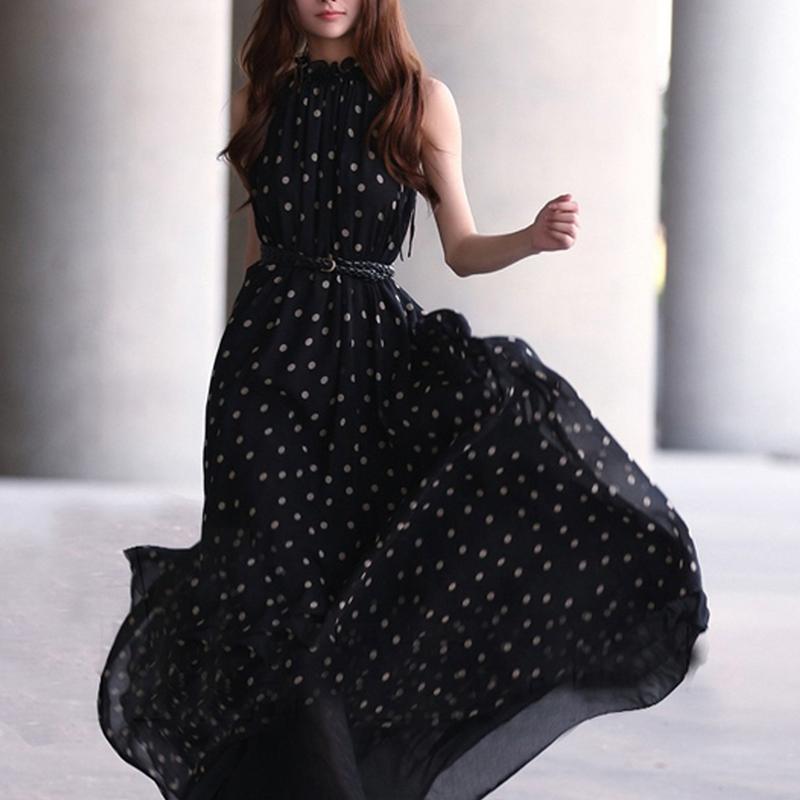 Veste-en-mousseline-de-soie-pour-femme-Maxi-Robe-longue-pleine-sans-manches-a-M7 miniature 4