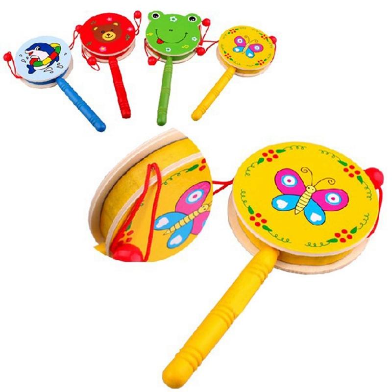 Kind Cartoon Tier Hand Glocke Spielzeug Holz Rassel Trommel Musikinstrument  XZV