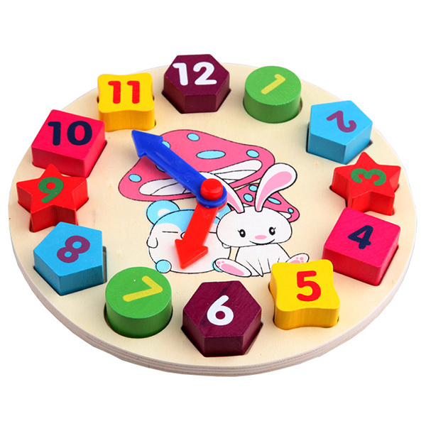 Baby Kids Wooden Toys Digital Geometry Clock Educational Toy Blocks