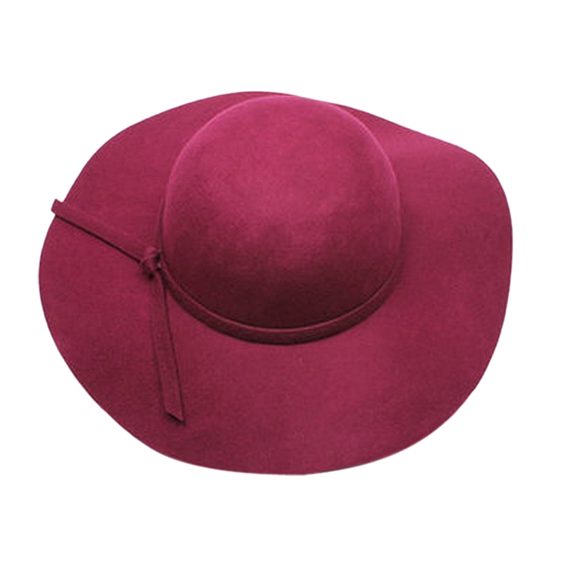 66a7ff01a0d070 Stylish Kids Girls Retro Felt Bowler Floppy Cap Cloche Hat-purple red T3L9