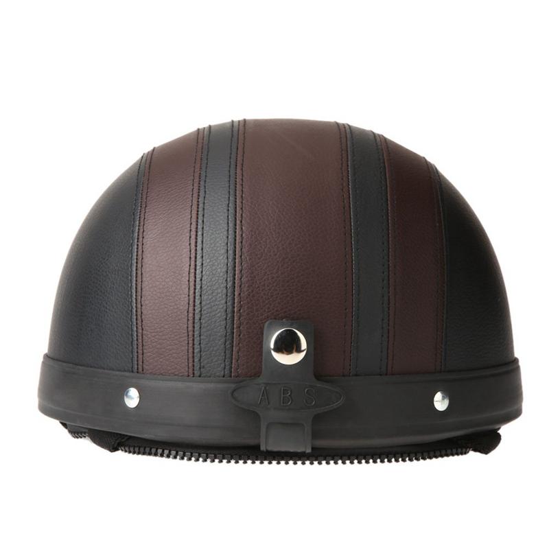 40-60-cm-Demi-Casques-de-Moto-Cuir-avec-Lunettes-de-Vintage-du-Style-de-Garm-7V7 miniature 18