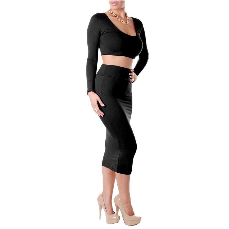 Sexy-robe-ensemble-de-deuxa-manches-longues-de-femme-pour-Party-Club-Veste-A5U5 miniature 3
