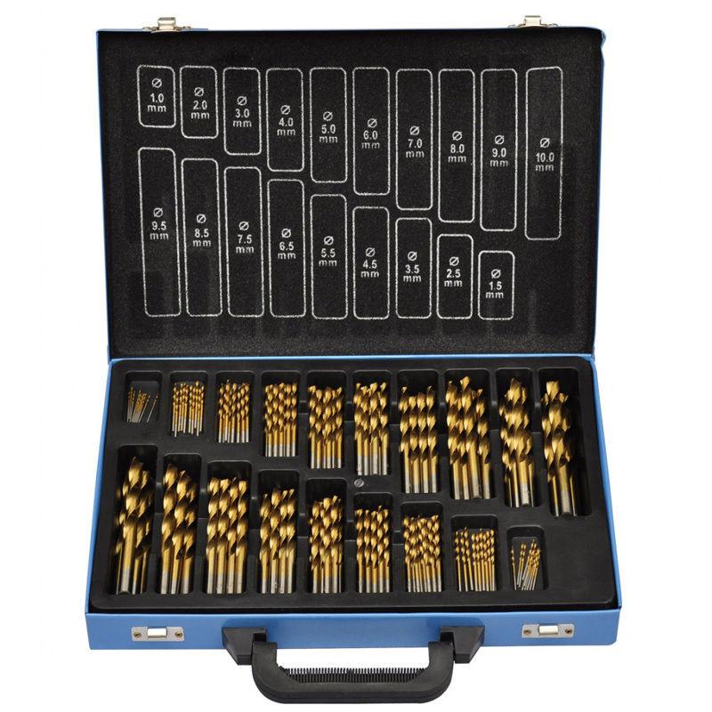 1X(170-Piece Titanium Drill Bit Set in Handy Metal Box HSS TI for Workshop B1K3