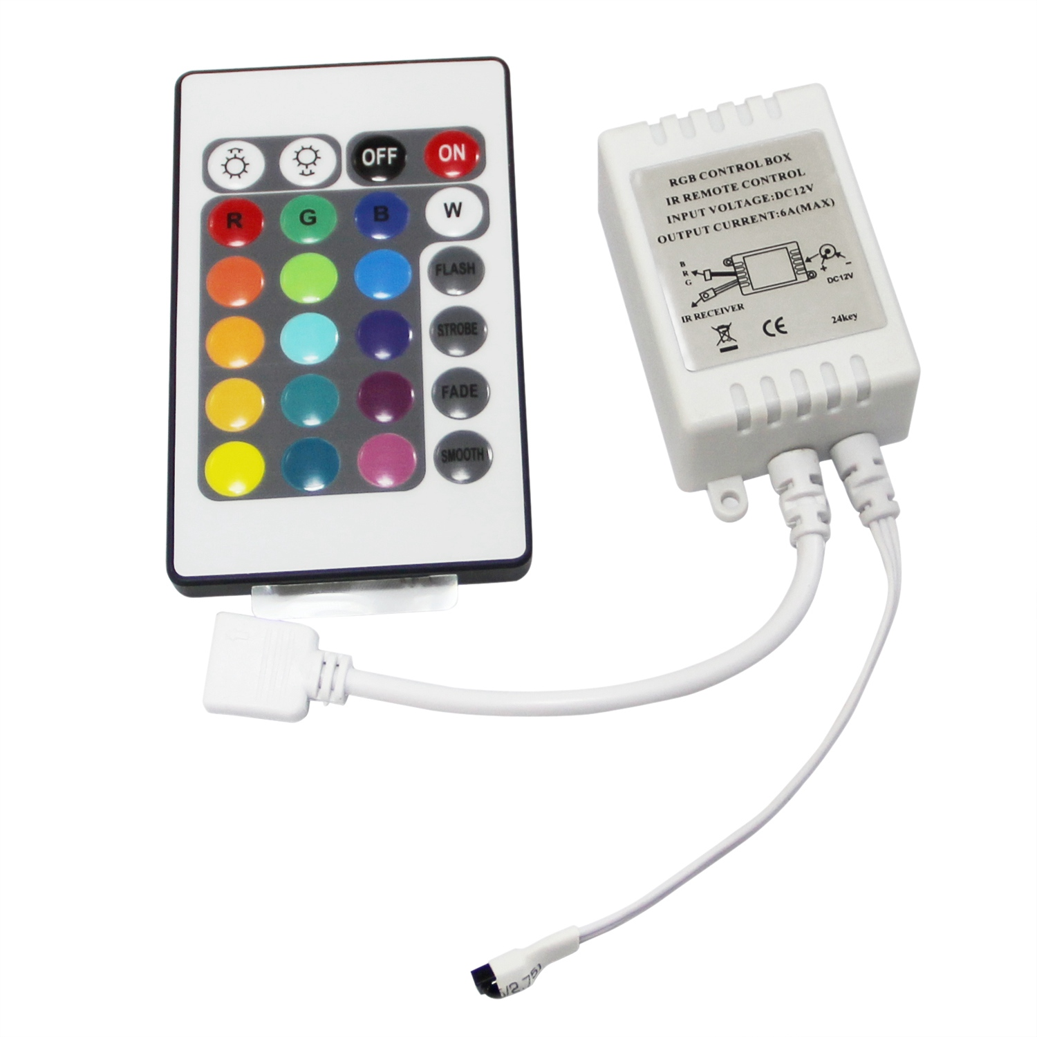 led rgb controller control ir fb 24 keys white 12v n5q2 ebay. Black Bedroom Furniture Sets. Home Design Ideas