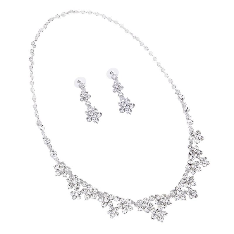 4f2cfd621522 Joyeria de fiesta boda dama honor novia elegante Juego arete collar flor  diam6A5