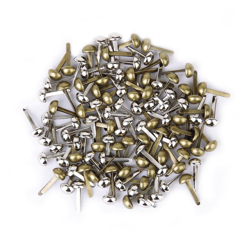 5X(200 Stueck Mini Round Scrapbooking / Handwerk Eisen Naegel - Antikes Mes V4P3