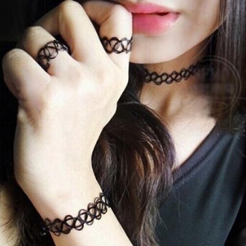 Vintage Collier elastique de tatouage l/'anneau retro et le bracelet retrQ2L5 2X