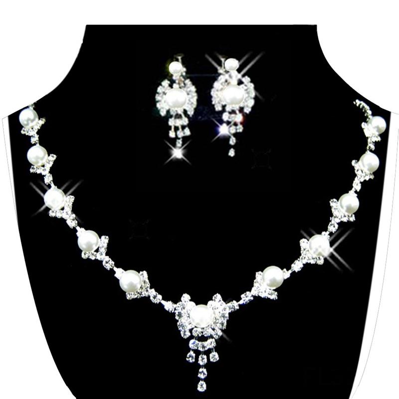 674d713662b6 5X(Juego de joyas para mujer Aretes collar de diamantes de imitacion de  criH5O2)