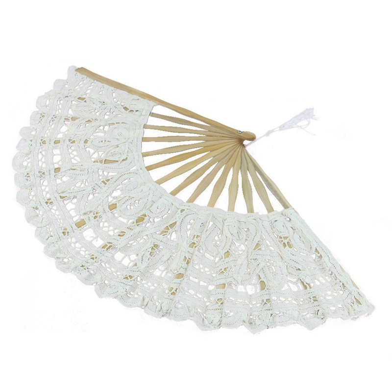 Handmade-Cotton-Lace-Folding-Hand-Fan-for-Party-Bridal-Wedding-Decoration-N2F4 thumbnail 3