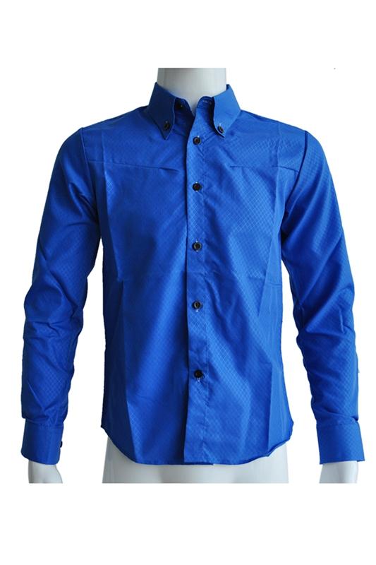 Nuovo-Uomo-Camicia-Casual-Dimagrita-Misura-Camicie-Da-Abbigliamento-Blu-R-B8X2