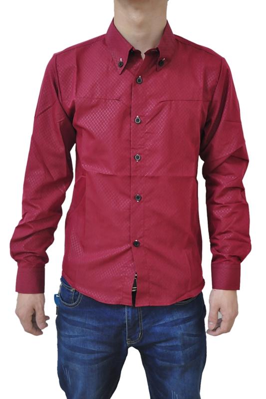 Nuovo-Uomo-Camicia-Casual-Dimagrita-Misura-Camicie-Da-Abbigliamento-Vino-W6X6