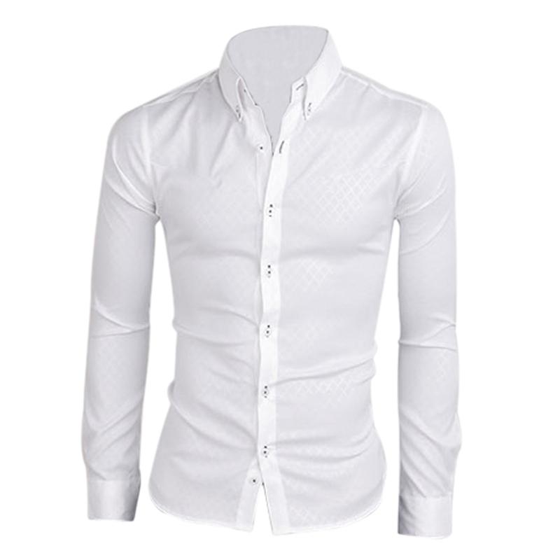 Nuovo-Uomo-Camicia-Casual-Dimagrita-Misura-Camicie-Da-Abbigliamento-Bianc-F6M1