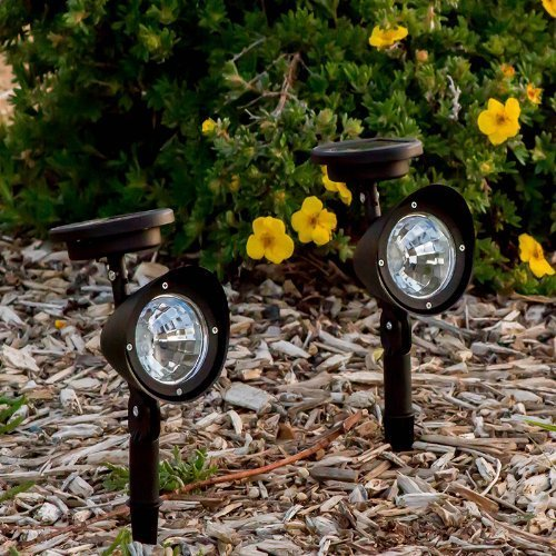 Outdoor solar powered led spotlight garden pool waterproof spot set of 2 outdoor solar spot lights stainless and plastic recharges from the sun had better to be wraped with plastic bag or something like that when mozeypictures Image collections
