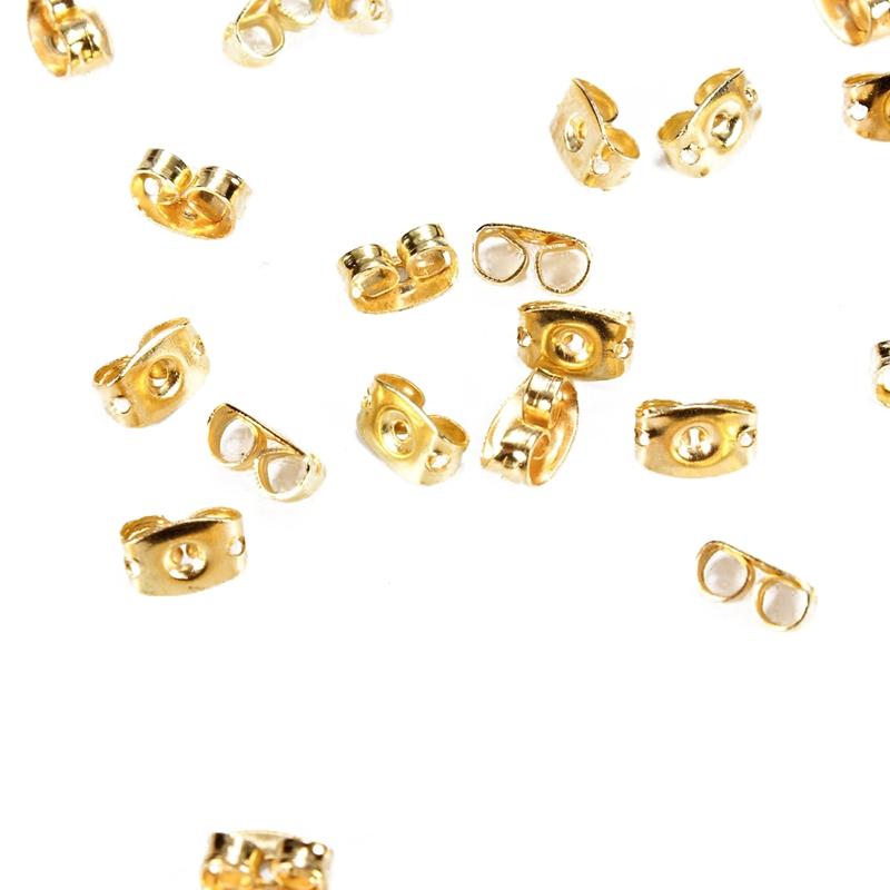 50PCS-de-Casquillo-de-Pendientes-de-tono-de-Oro-Puntas-de-cierre-de-oro-de-T2N4