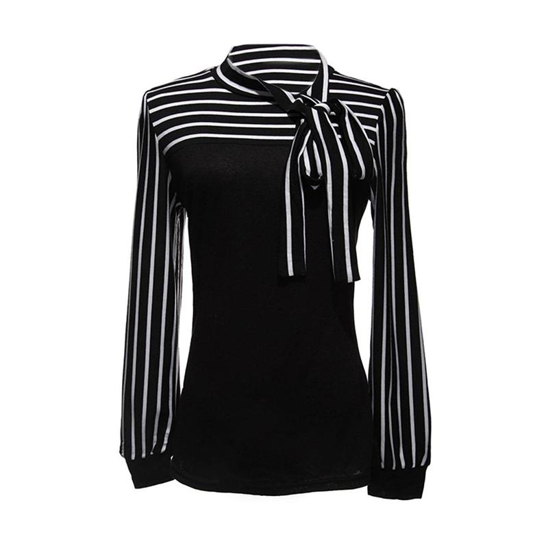 Damenbluse-Stehkragen-Blus-T-shirt-Hemd-Streifen-Shirt-TOP-Gr-M-Schwarz-F1Z1