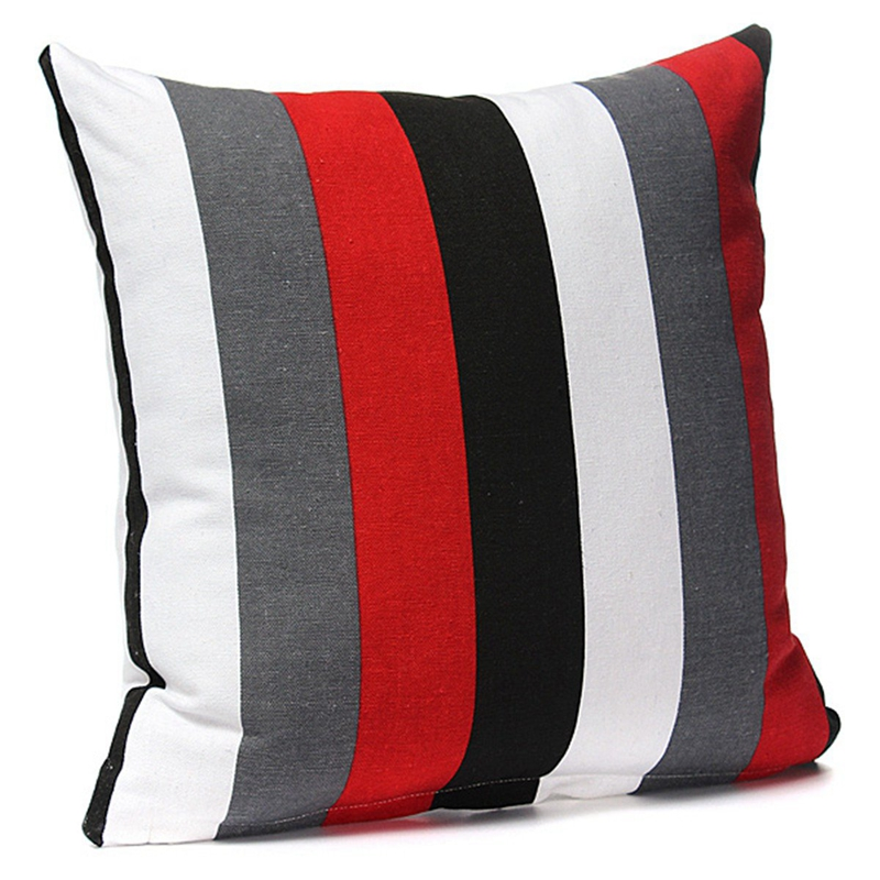 5x kissenhuelle 40x40 dekokissen baumwolle kissenbezug rot grau streifen v1u8 ebay. Black Bedroom Furniture Sets. Home Design Ideas