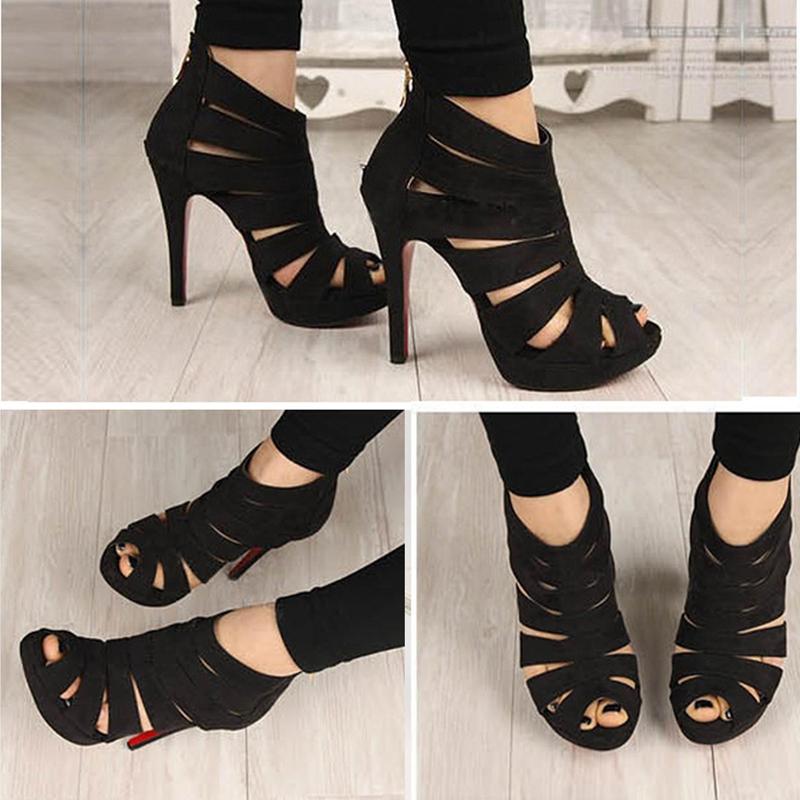 Sandalias-de-tacon-alto-de-mujer-Zapatos-Zapatillas-de-plataforma-de-dedo-del-p1 miniatura 6