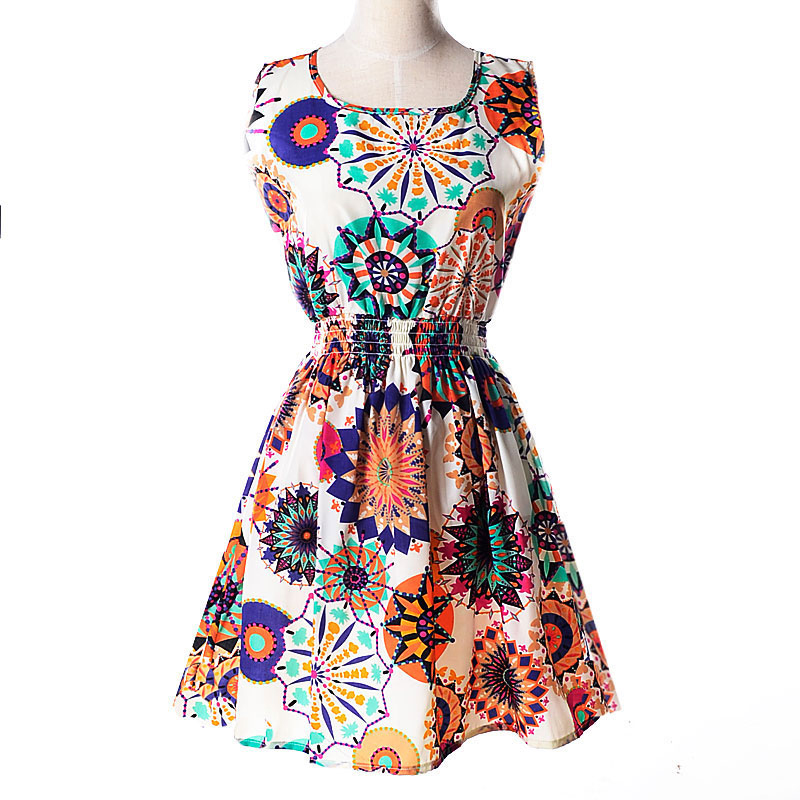 Lady-039-s-Sleeveless-O-neck-Flower-Printed-Casual-Mini-Dress-Sunflower-Asian-M-N1A7 thumbnail 3