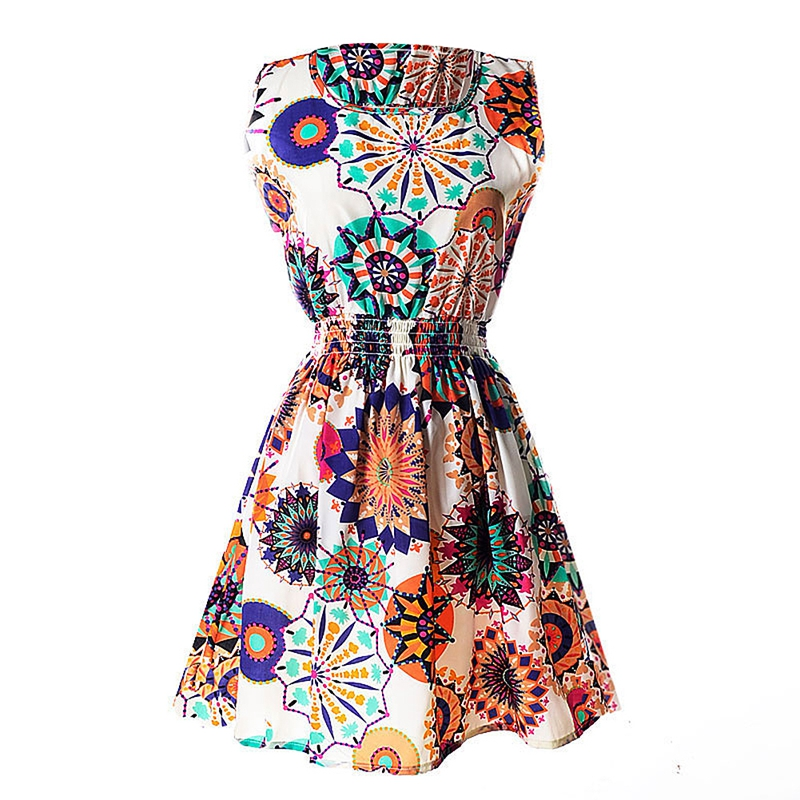 Lady-039-s-Sleeveless-O-neck-Flower-Printed-Casual-Mini-Dress-Sunflower-Asian-M-N1A7 thumbnail 2