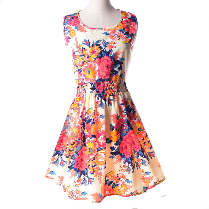 Lady-039-s-Sleeveless-O-neck-Flower-Printed-Casual-Mini-Dress-Sunflower-Asian-M-N1A7 thumbnail 10