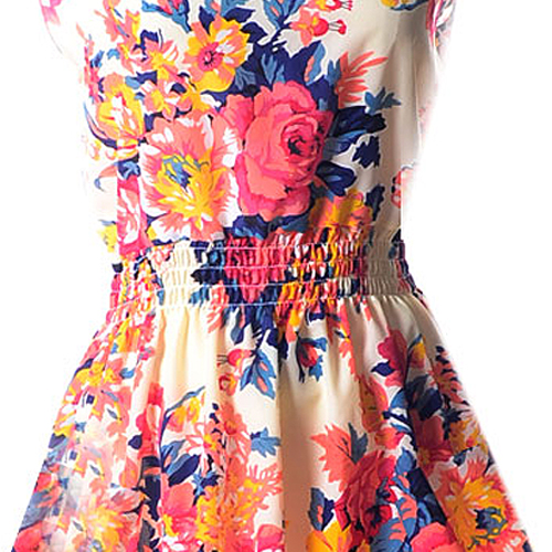 Lady-039-s-Sleeveless-O-neck-Flower-Printed-Casual-Mini-Dress-Sunflower-Asian-M-N1A7 thumbnail 11