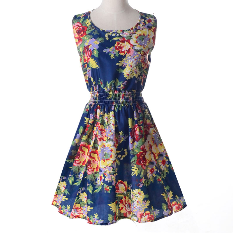 Lady-039-s-Sleeveless-O-neck-Flower-Printed-Casual-Mini-Dress-Sunflower-Asian-M-N1A7 thumbnail 22